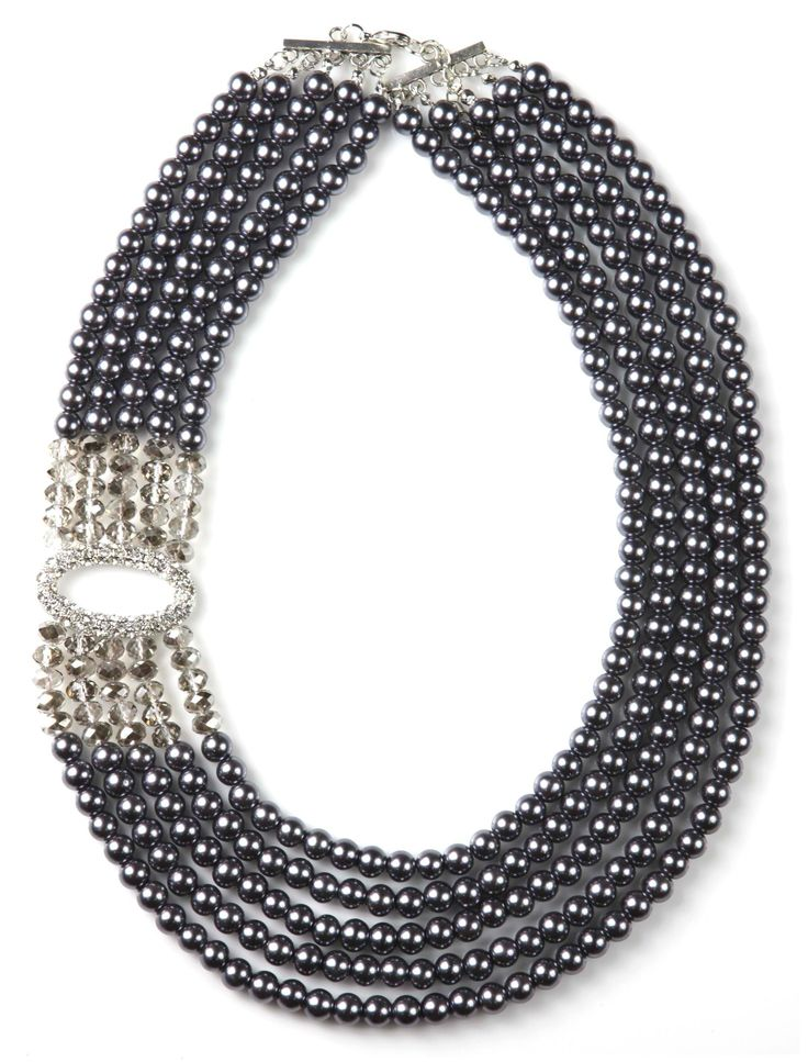 Sistaco's Audrey Black Pearl with Clear Bead and Diamante Feature Necklace.  Feel just like the timeless beauty herself with this amazing pearl necklace with special diamante side feature. This is the perfect way to pay homage to vintage glamour whilst still looking fresh and on trend. Use it to dress up and evening outfits. http://www.byariane.com.au/Sistaco-Audrey