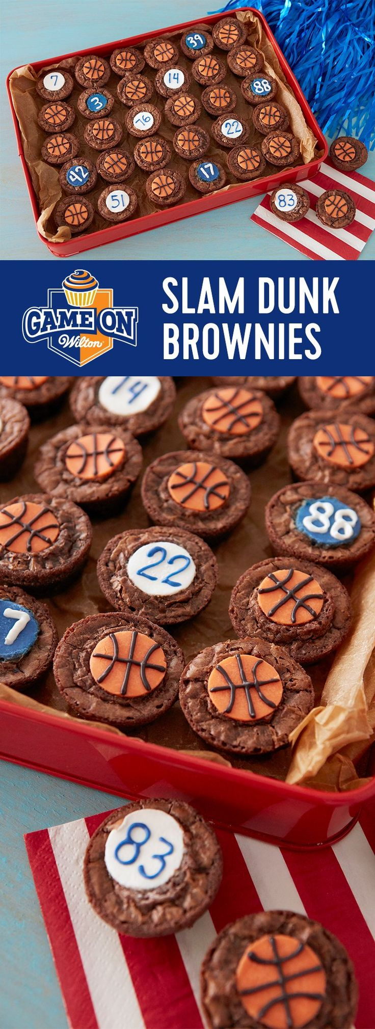 Slam Dunk Brownies - Love basketball? Love brownies? Here's a quick and easy basketball party treat that scores a 3-pointer: chocolatey brownies, Candy Melts candy decorations, and making 48 treats at once! It's an easy feat to complete using the Wilton Mega Mini Muffin Pan.