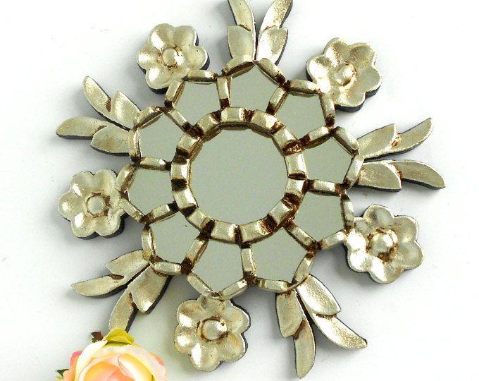 """9"""", sunburst Mirror, espejo de la pared, espejo redondo, espejo de plata, espejo de pared decorativo, hoja espejo, espejo decorativo, espejo adornado de plata"""