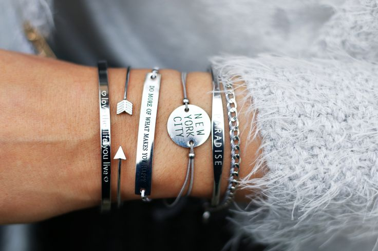 Beautiful silver armparty with quote bangles - available via…