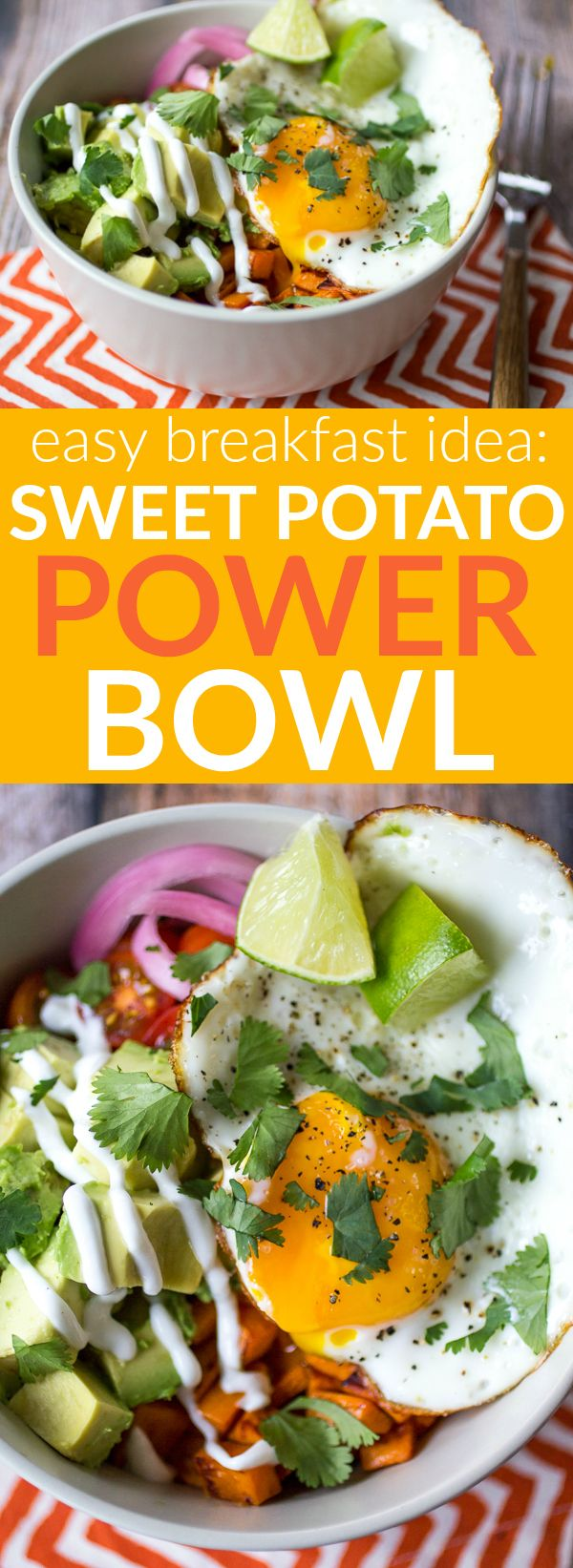 Stuck in a boring breakfast rut? Take 15 minutes and make this easy Sweet Potato Power Bowl! This winning combination of tender sweet potato, creamy avocado, sweet tomatoes, and perfectly poached egg will keep you full and satisfied until lunch.