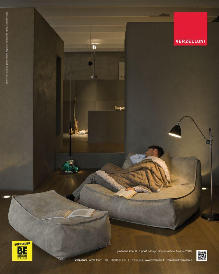 Zoe XL and pouf. Verzelloni on Elle Decor Italia.
