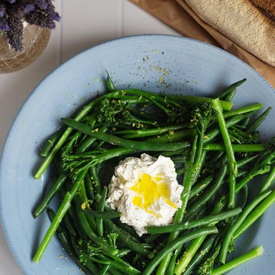 A refreshing side dish of broccolini and beans dressed with lemon zest. Served with whipped feta.