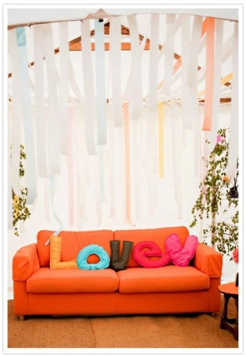 Love the ribbons above: Orange Couch, Letters Pillows, New Words, Decor Ideas, Living Rooms, Dreams, Pillows Diy, Couch Cushions Diy, Diy Rooms Furniture Decor