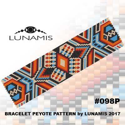 Peyote bracelet pattern even count peyote par LunamisBeadsPatterns