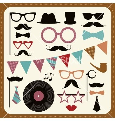 Set of retro party elements mustaches hats and vector on VectorStock®