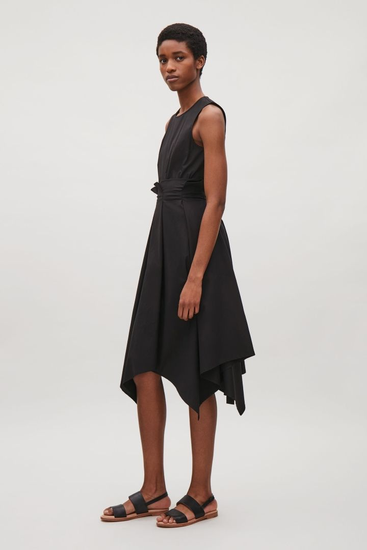 COS image 1 of Sleeveless dress with pleated waist in Black