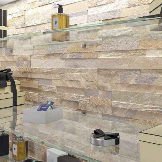 Origin Pebble Stone Effect Linear Travertine Ceramic Wall: 12 Best Cubics 3D Ledger Stone Look Wall Tile