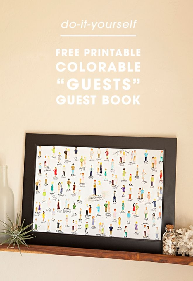Make your guest book interactive, colorful and memorable with this guide and printables from Something Turquoise. Your guests will love coloring themselves into this creative guest book that can later be turned into a framed keepsake.