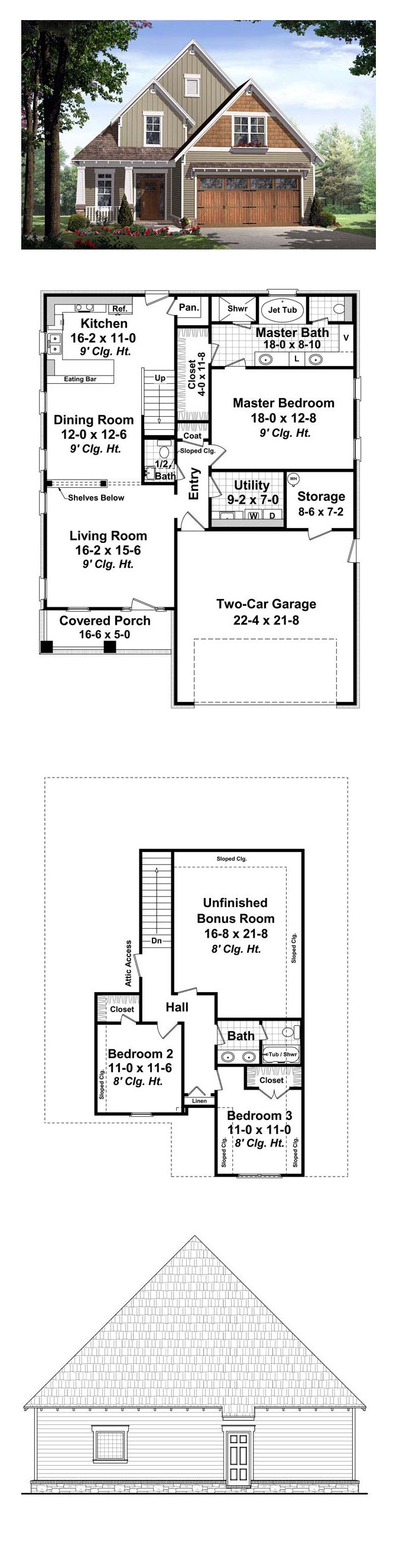 17 best bungalow house plans images on pinterest cool house bungalow style cool house plan id chp 37747 total living area 1802 sq ft 3 bedrooms 2 5 bathrooms the front and rear covered porches add usable