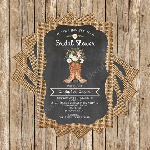 This water color boot bouquet bridal shower invitation is perfect for the bride-to-be who loves rustic chic boots and flowers, with burlap and chalkboard accents