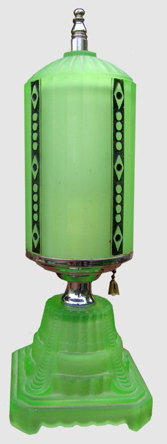 Deco Green Uranium Glass Lamp/ Shade, original, 1930