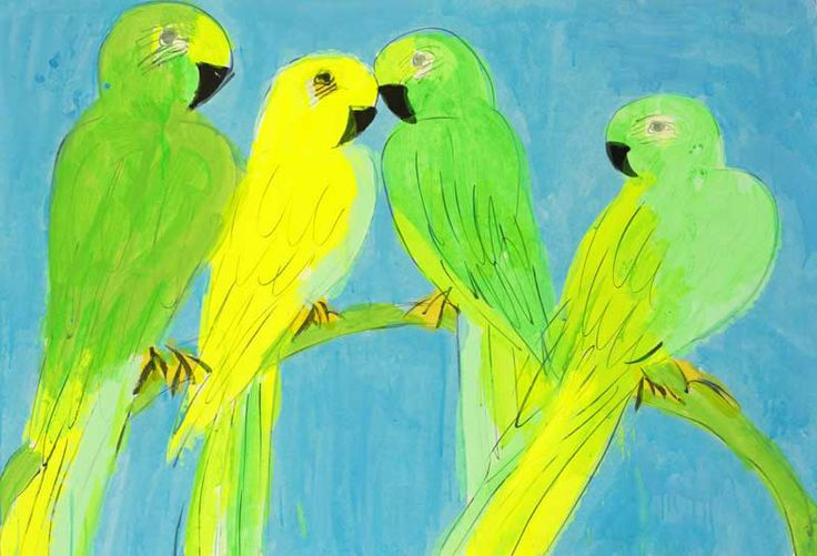 green and yellow parrots   acrylic on ricepaper   by Walasse Ting
