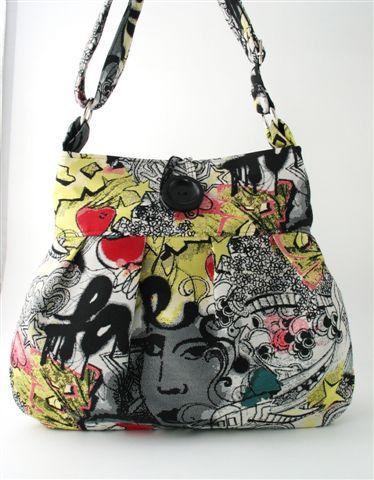 Graffiti tote messenger bag diaper bag purse handbag by daphnenen, $87.00