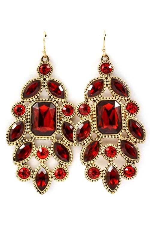 Ruby Crystal Chandelier Earrings Awesome Selection Of Chic Fashion Jewelry Emma Stine Limited In 2018 Pinterest