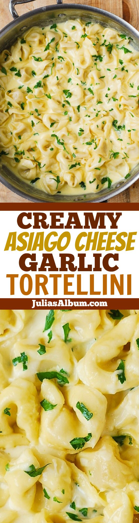 Delicious Tortellini smothered in a Creamy Asiago Cheese Garlic Sauce - easy, 30-minute pasta recipe!