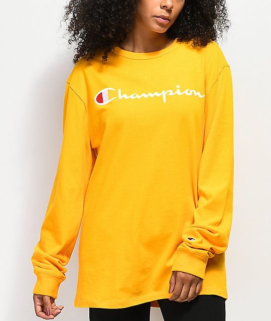 70c70915 Champion Embroidered Script Gold Long Sleeve T-Shirt in 2019 ...