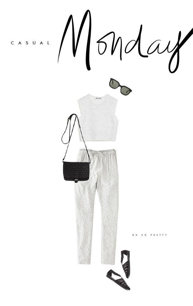 Casual Monday / neutral and simple crop top + loose patterned pant