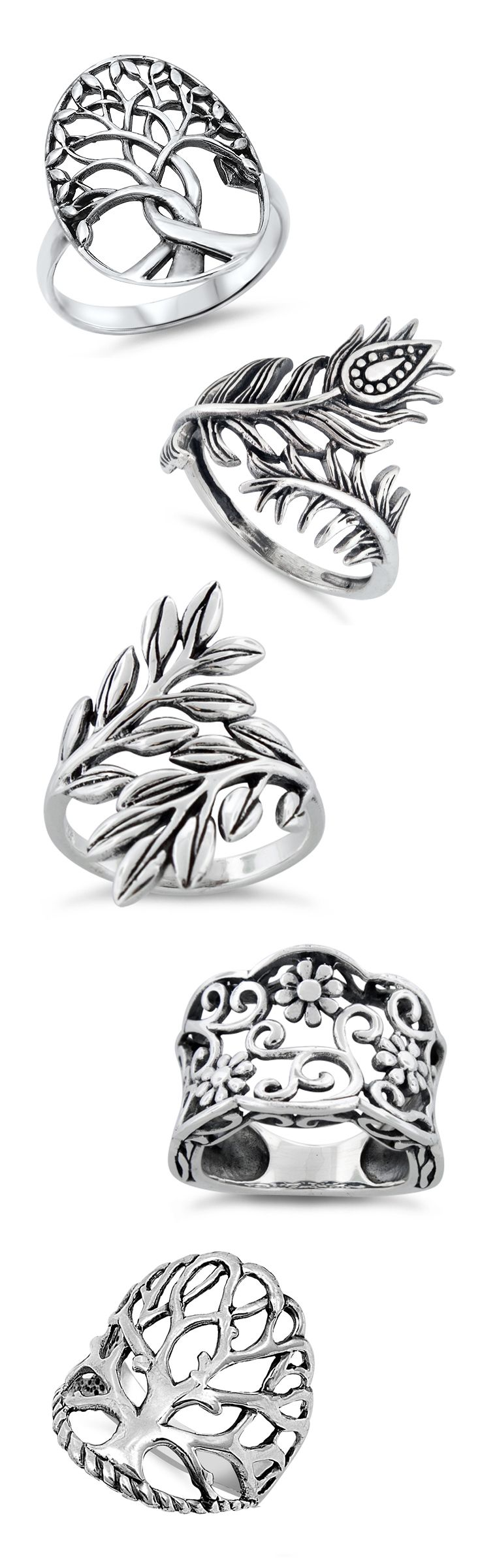 Tree of Life & Floral Rings in Sterling Silver
