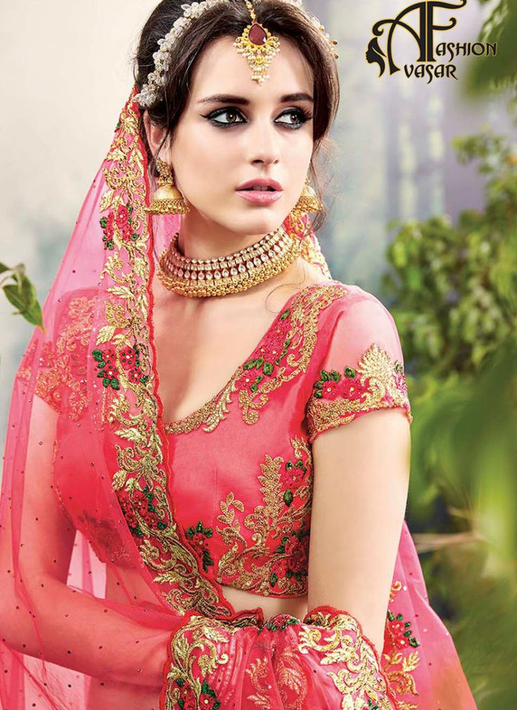 Red Bridal Engagement Lehenga Online Shopping
