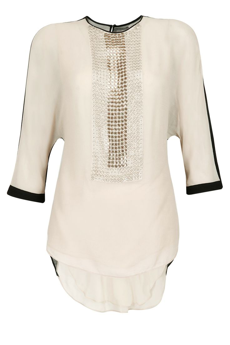 Metal embroidered yoke asymmetric top by ROHIT GANDHI AND RAHUL KHANNA. Shop now…