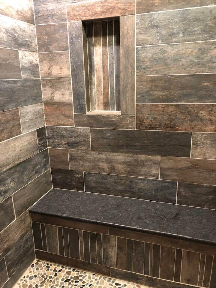 Porcelain Tile Wood Look Custom Shower With Granite Bench