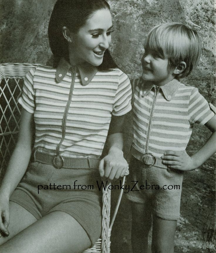 WZ377 An odd little concept-mother and SON matching shorts jumpsuits!vintage knitting pattern...at their nuttiest.