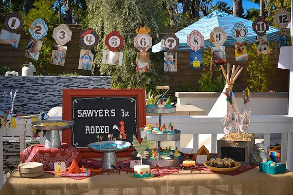 12 month picture banner western BBQ cowboys by ThePinkPapermill