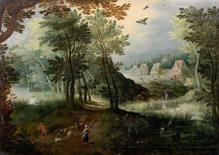 Joos de Momper the Younger (1564 - 1635). Пейзаж с играющим пастухом.