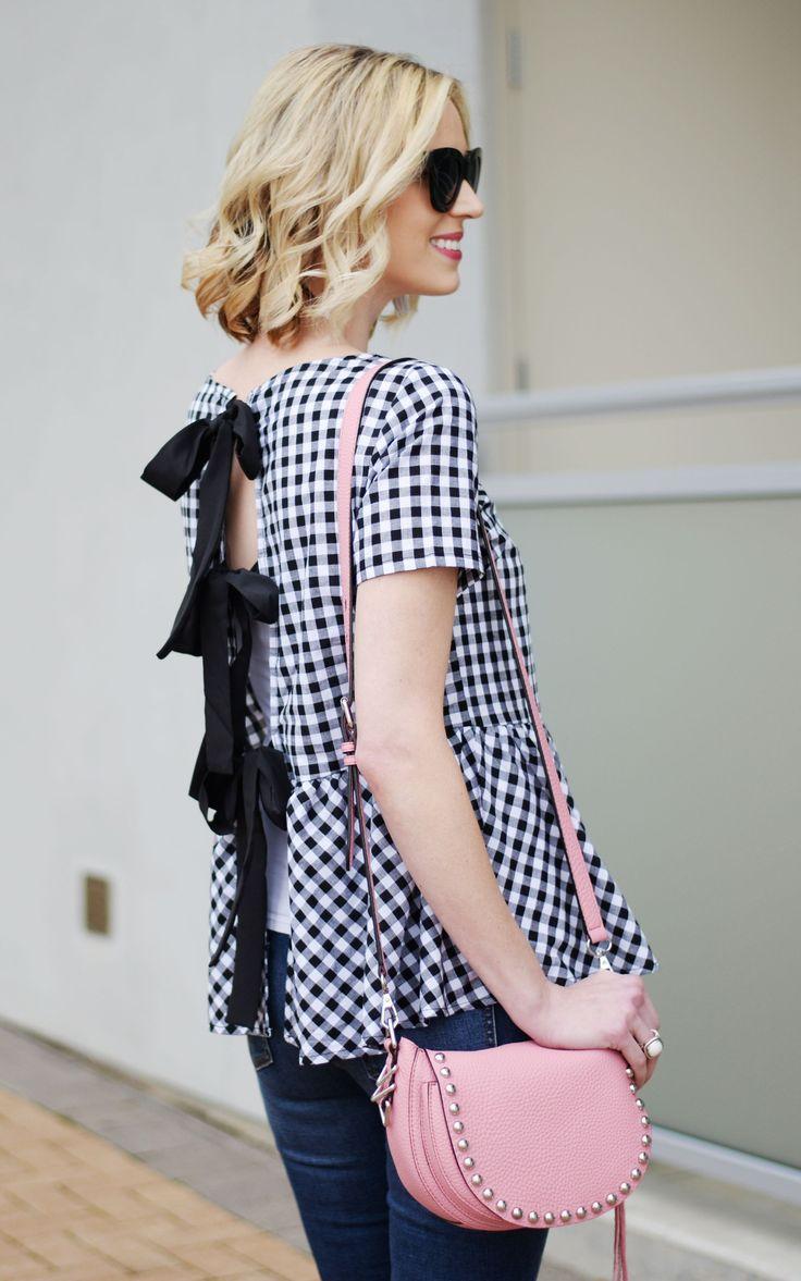 gingham bow back top, distressed denim, tassel mule loafers, pink rebecca minkoff unlined saddle bag, spring outfit idea