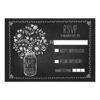 Chalkboard wedding reply cards with mason jar full of flowers.------------Please contact me if you need help with customization or have a custom color request. ---------- If you push CUSTOMIZE IT button you will be able to change the font style, color, size, move it etc. it will give you more options! #chalkboard #wedding #rsvp #mason #jar #wedding #rsvp #mason #jar #chalk #floral #mason #jar #chalkboard #wedding #reply #rustic #chalkboard #wedding #response #modern #flowers #fancy