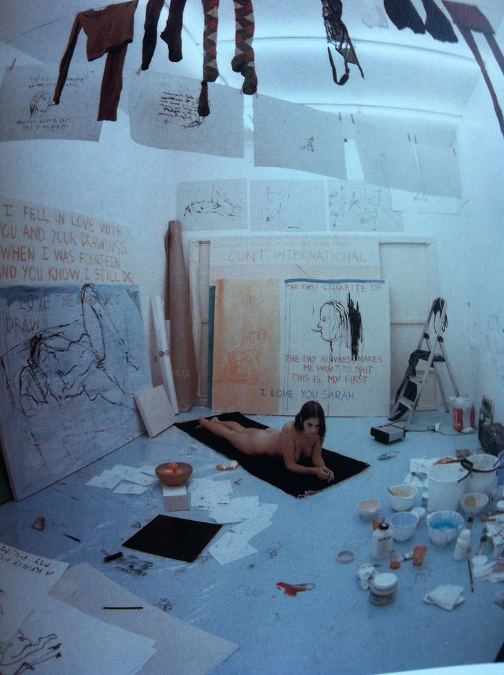Tracey Emin - Exorcism of the last painting I ever made 1996- is a total of 97 works. 14 paintings, 78 drawings, and five body prints. This piece was to reconnect herself with painting after she destroyed most of her work from school. This piece is now an instillation.