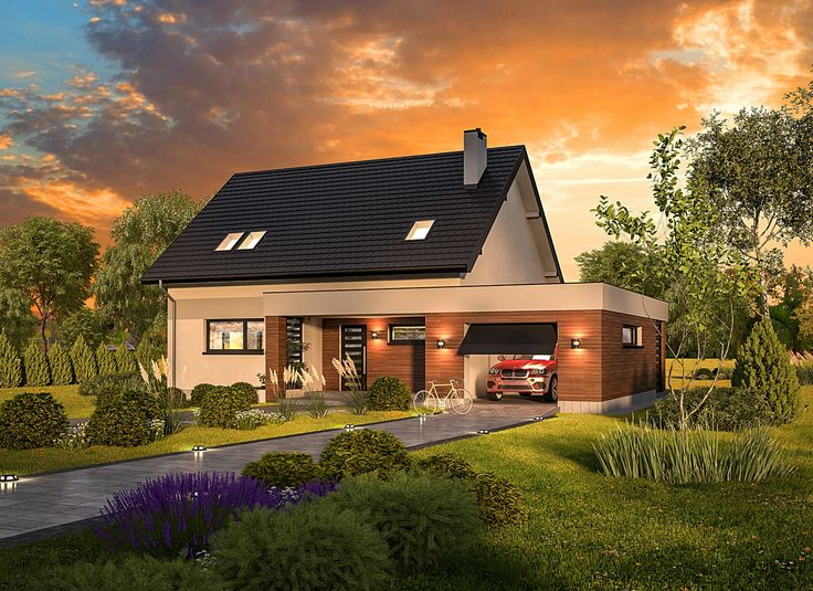 """""""Przedwiośnie - wariant I"""" Murator C341a, to zgrabny dom w nowoczesnym stylu. Prostą bryłę ożywia dodatkowa część o kubicznym kształcie i płaskim dachu, w której mieści się jednostanowiskowy garaż oraz pomieszczenie gospodarcze."""