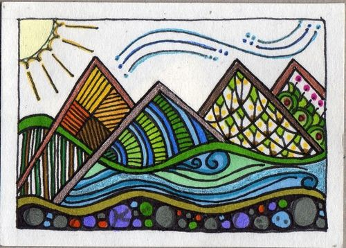 mountain scene using zentangles