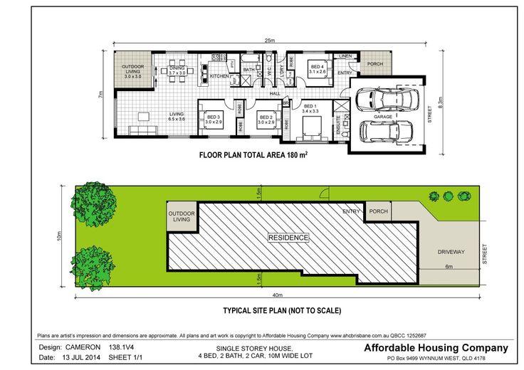 138.1V4 Cameron house plan by AHC Brisbane Home Builder, lowset, 4 bed, 2 bath, 2 car, 10m narrow lot