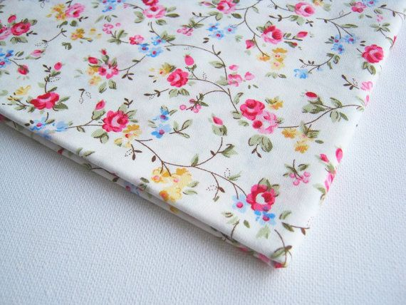 Cotton Fabric Vintage White Pink Red Rose little cute blue yellow flower,  Spring, blue flower bunch, Lady Blouse, vintage fabric CT140, on Etsy, $7.00