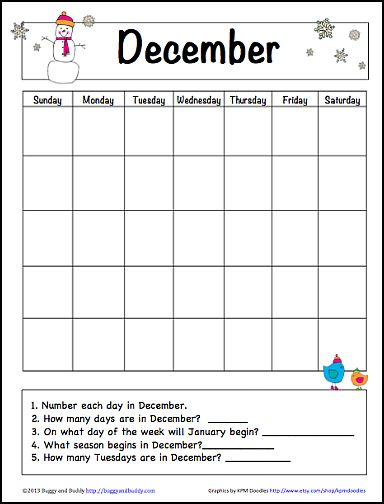 December Learning Calendar for Kids (Free Printable) - Buggy and Buddy