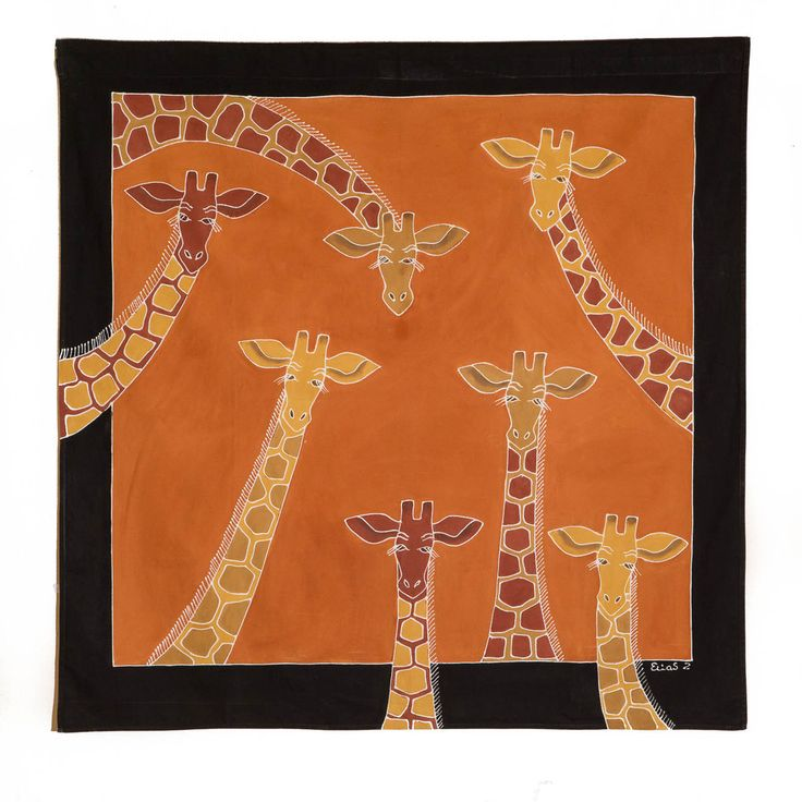 Wall Hangings ~ Animal Kingdom Designs $95.00 USD Large Multi-purpose wall hanging decorated with beautiful giraffe design, painted in rich terracotta and earth tones. Hemmed all around with full-width pocket along top edge for hanging pole. Can also be used as a Tablecloth or throw.