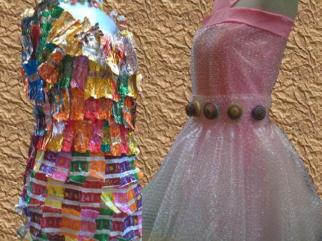 Originales ideas para hacer trajes y vestidos con materiales reciclados.: Vestidos con envolturas de caramelo y con papel burbuja