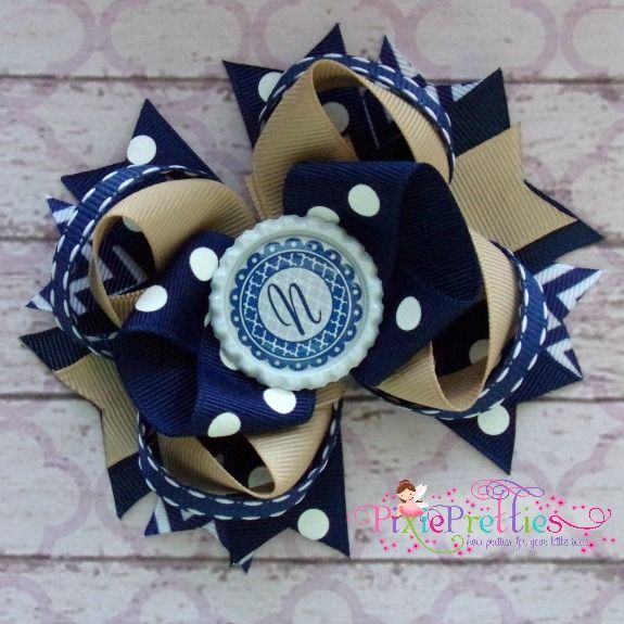 Personalized Navy Tan Stacked Loop Boutique Hair Bow-back to school, school uniform, school uniform hair bow, hair bow, hairbow, navy, blue, tan, white, khaki, quatrefoil, chevron, polka dot, tbb, twisted bow, twisted loop, monogram, monogrammed, initial, personalized