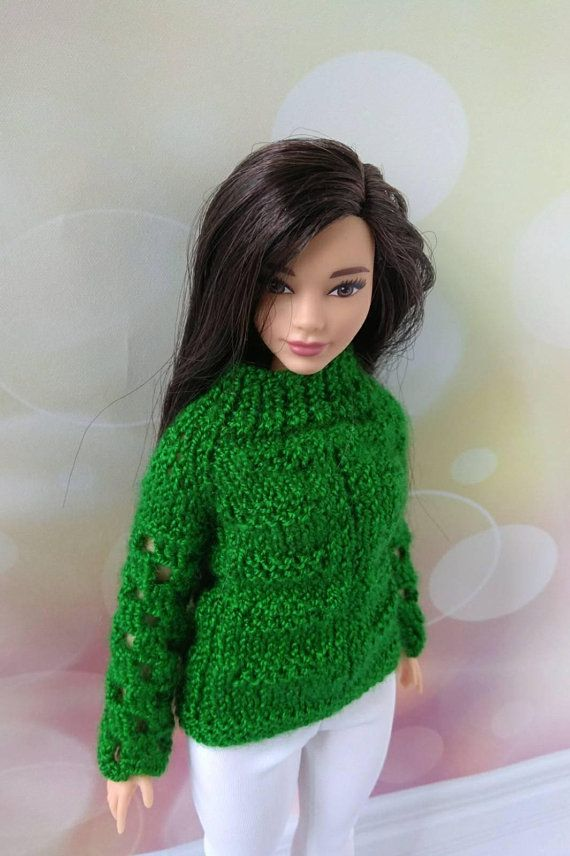Curvy Barbie doll clothes hand-knitted green sweater white