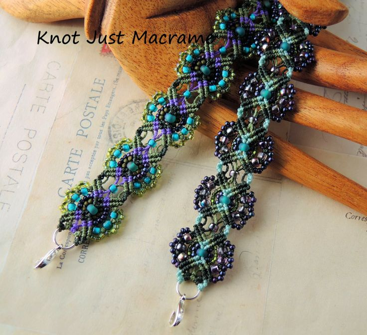 Floral micro macrame bracelets in teal purple