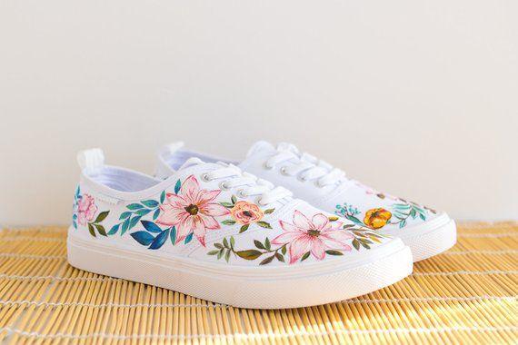 659a143da487b4 Hand painted Women Floral Canvas Shoes
