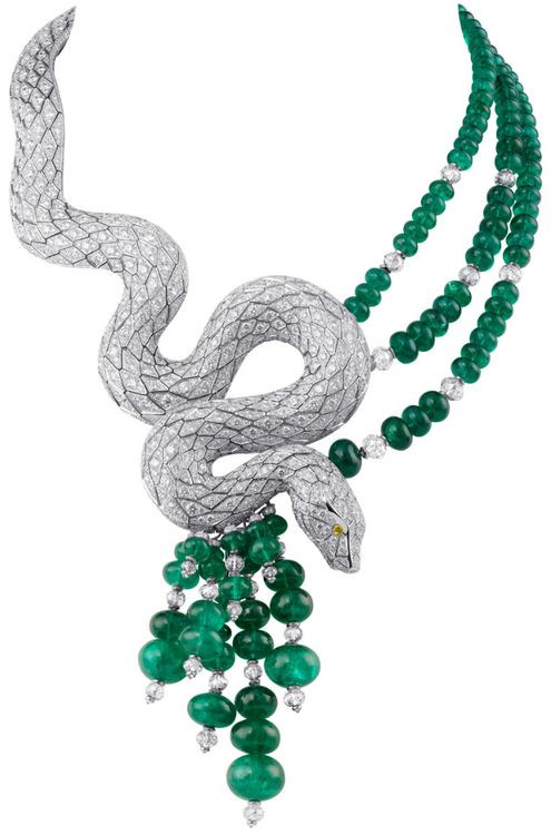 Cartier Snake-motif necklace. Platinum, yellow diamond eyes, emeralds, briolette-cut beads, diamonds. PHOTO: Vincent Wulveryck © Cartier 2011.      Via The Jewellery Editor.