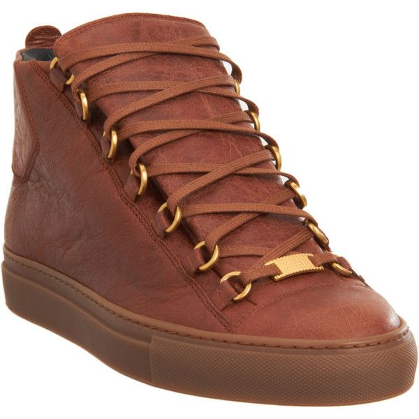 Balenciaga Arena Midtop Sneaker - Brown size 9 Medium (1.648.870 COP) ❤ liked on Polyvore featuring shoes, sneakers, men, clothing & accessories, footwear, balenciaga shoes, lacing sneakers, brown sneakers, balenciaga sneakers and laced up shoes