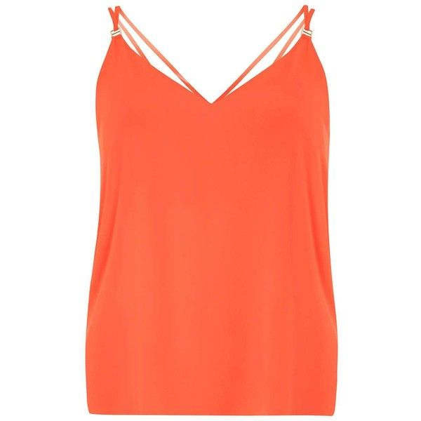 Dorothy Perkins Orange Double Strap Cami Top ($21) ❤ liked on Polyvore featuring tops, orange, polyester camisole, red tank top, camisole tank tops, red cami top and red camisole top