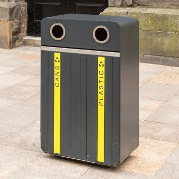 Stoke Litter Bin. Manufactured from mild steel then hot dipped galvanised as standard. Complete with laser cut lettering and coloured panel and stainless steel strip to door top. Height:1085mm Width:660mm Depth:400mm Capacity:135L