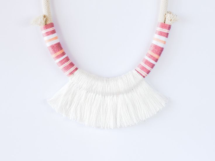 New one | #deuxsoray #ds #white #necklace #rope #ropejewelry #ropenecklace #tassel #tasselnecklace #handmade #jewelry #peach #etsy #seller #original #design #two #sisters