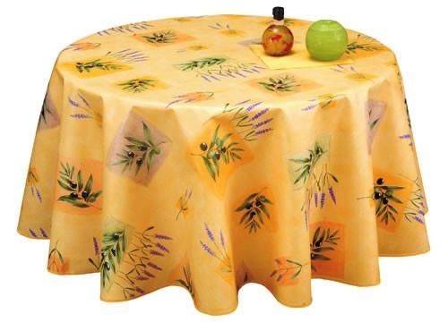Toile cirée ronde 180 jaune motifs lavande et olives - Achat-nappe.com