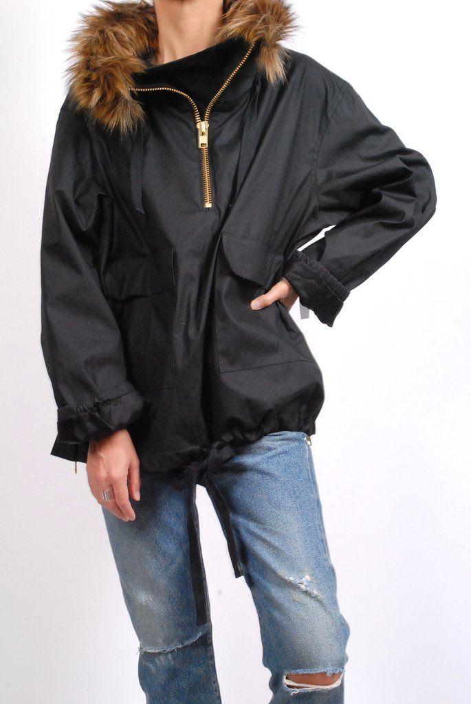 Smythe Anorak Coat- Black with Wolf (Faux)
